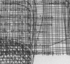 Ruth Loibl, Mittagessen, Detail mit Stuhl, Tisch, Schrift